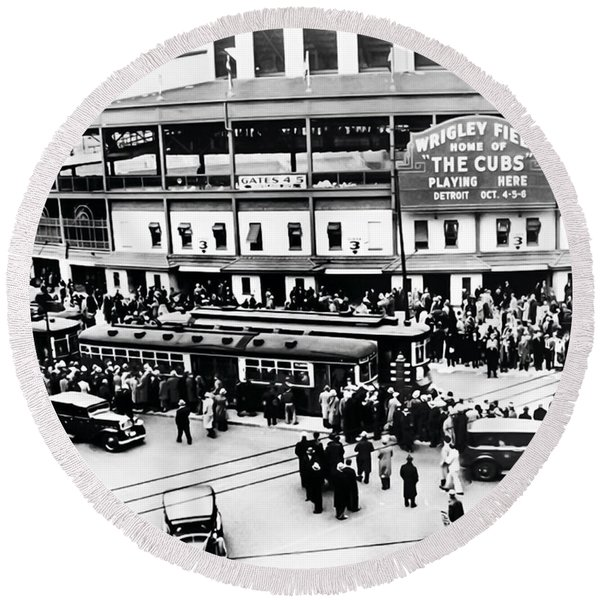 Round Beach Towel featuring the photograph Vintage Wrigley Field by Bill Cannon