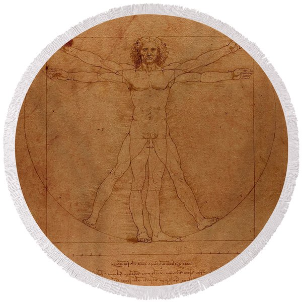 Vitruvian Man By Leonardo Da Vinci Sketch On Worn Parchment Round Beach Towel