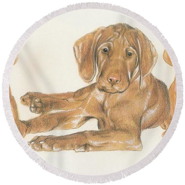 Vizsla Puppies Round Beach Towel