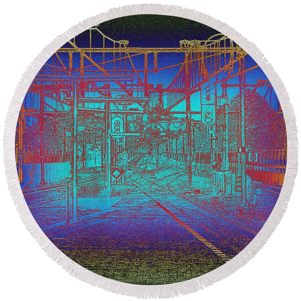 Waiting At Gouda Station Round Beach Towel