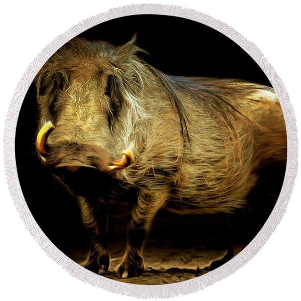 Warthog 20150210brun Round Beach Towel