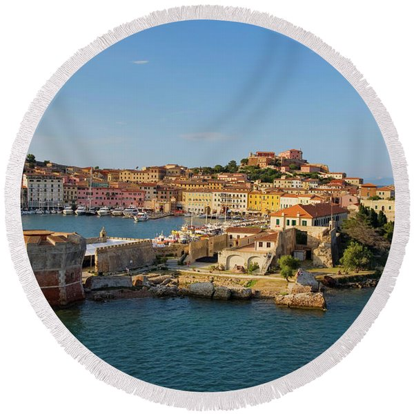 Water View Of Portoferraio, Province Round Beach Towel