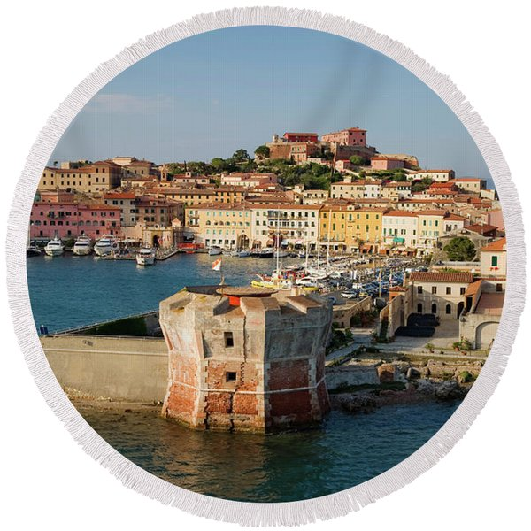 Water View Of Torre Della Linguell Round Beach Towel