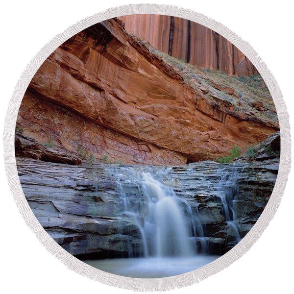 Waterfall In Coyote Gulch Round Beach Towel