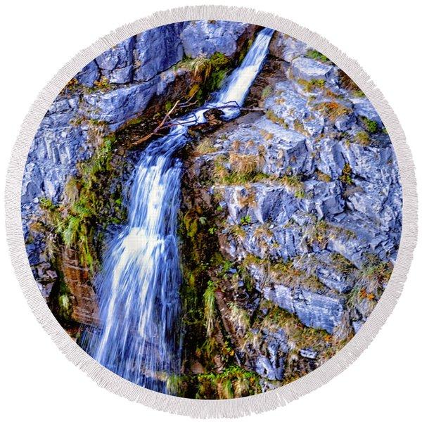 Waterfall-mt Timpanogos Round Beach Towel