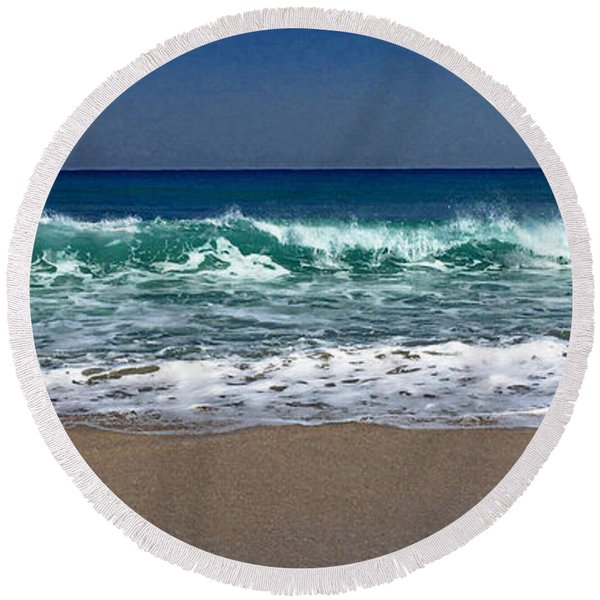 Waves Of Happiness  Round Beach Towel