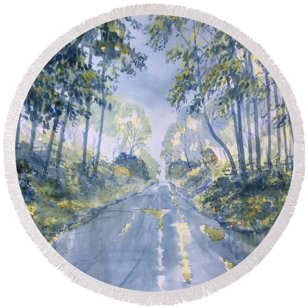 Wet Road In Woldgate Round Beach Towel