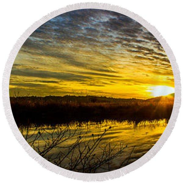 Wetlands Sunset Round Beach Towel
