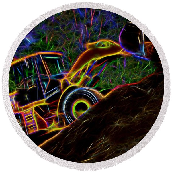 Wheel Loader Moving Dirt - Neon Round Beach Towel