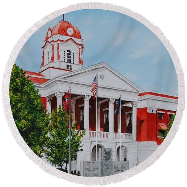 White County Courthouse - Veteran's Memorial Round Beach Towel