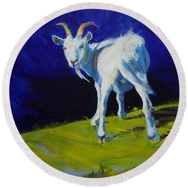 White Goat Painting Round Beach Towel