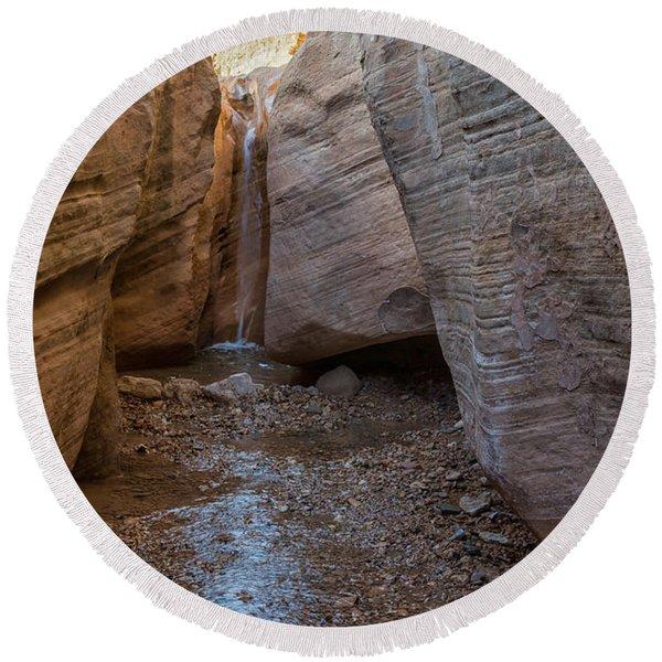 Willis Creek Slot Canyon Waterfall - Grand Staircase Escalante National Monument Utah Round Beach Towel