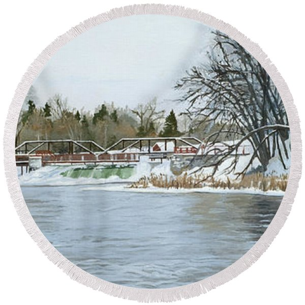 Winter At Phelps Mill Round Beach Towel