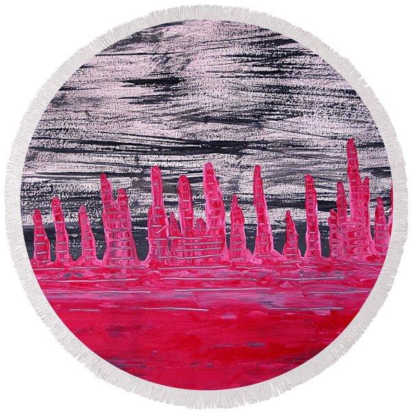 Winter Hoodoos Original Painting Round Beach Towel