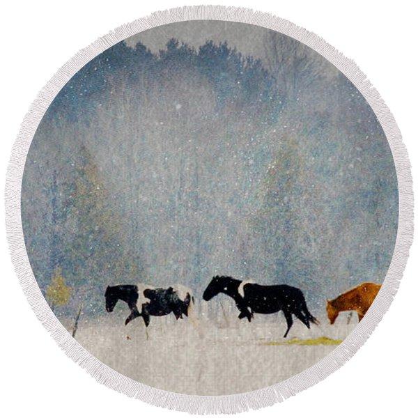 Winter Horses Round Beach Towel
