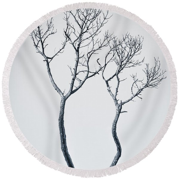 Round Beach Towel featuring the photograph Wishbone Tree by Carolyn Marshall