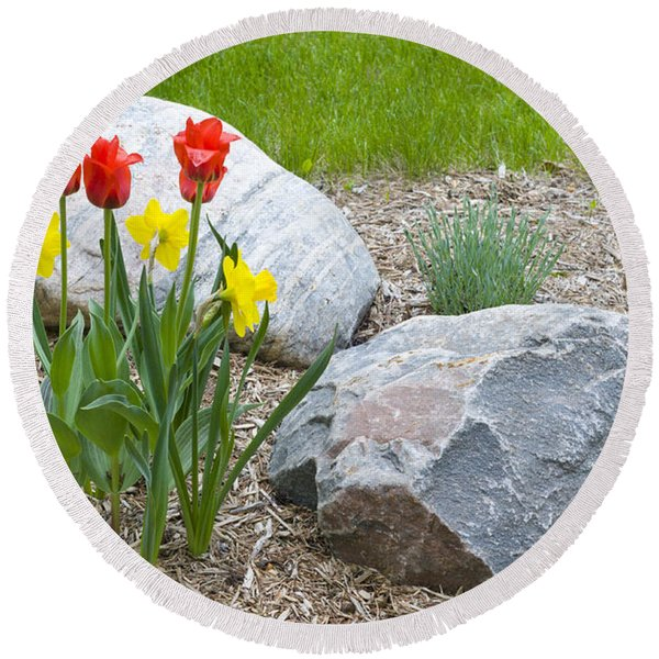 Yellow And Red Tulips With Two Rocks Round Beach Towel