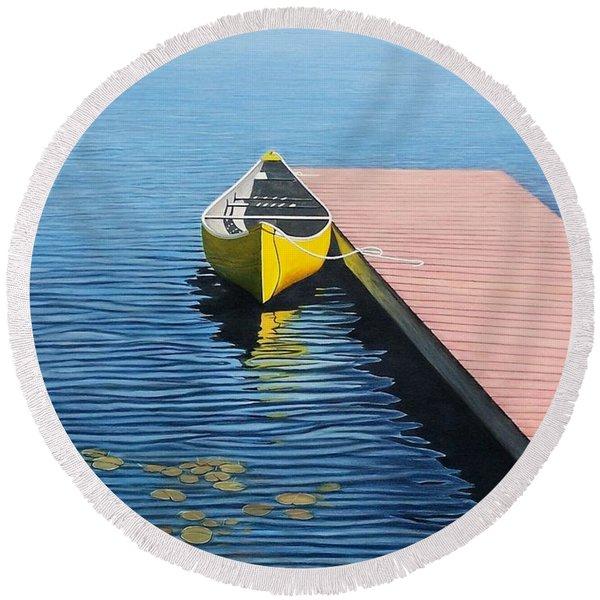 Yellow Canoe Round Beach Towel