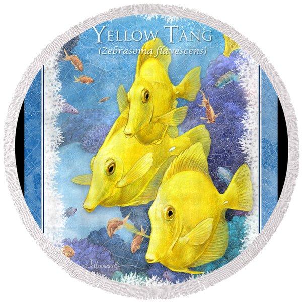 Yellow Tang Round Beach Towel