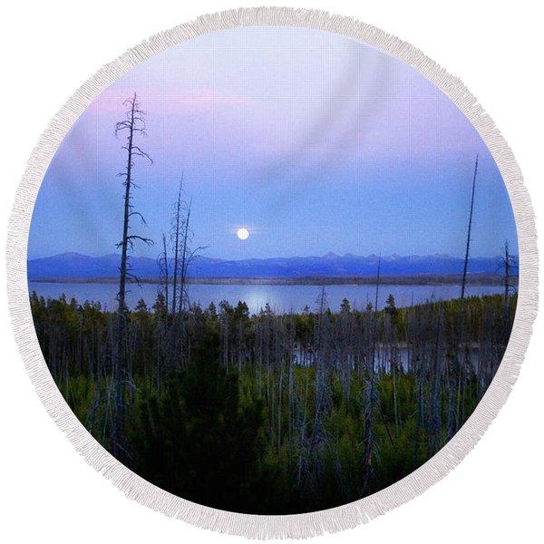 Yellowstone Moon Round Beach Towel