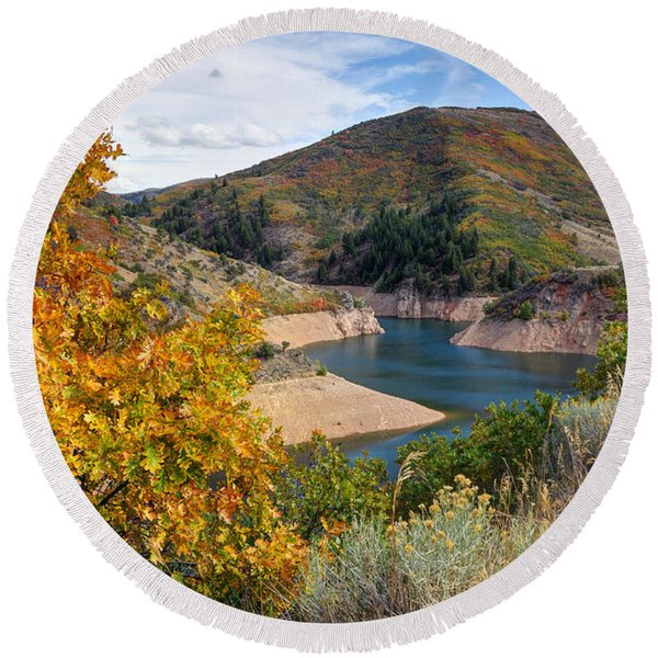 Autumn At Causey Reservoir - Utah Round Beach Towel
