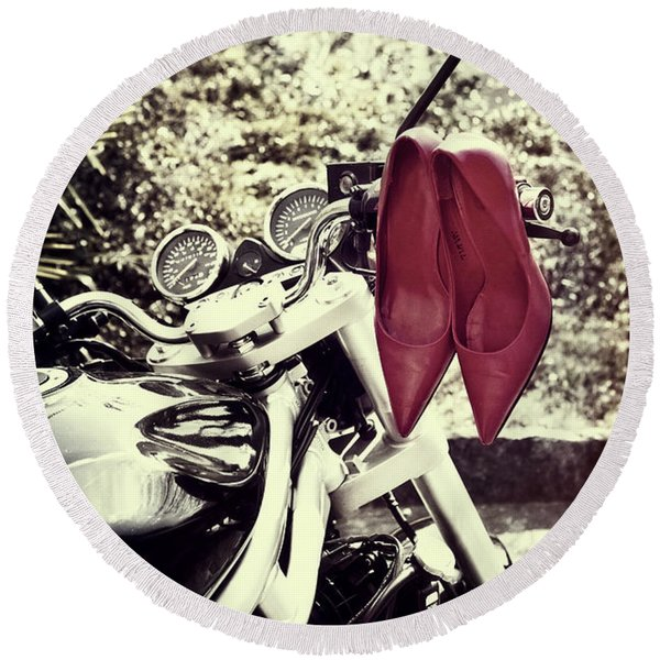Motorcycle With Shoes Round Beach Towel