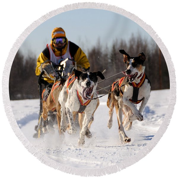 2011 Limited North American Sled Dog Race Round Beach Towel