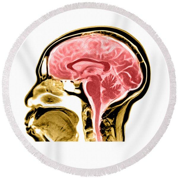 Sagittal View Of An Mri Of The Brain Round Beach Towel