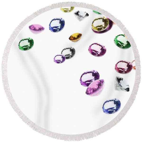Colorful Gems Round Beach Towel