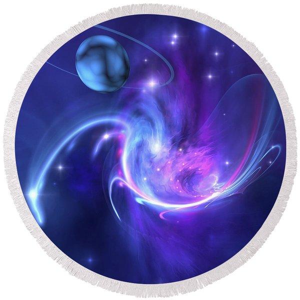 A Beautiful Nebula And A Ringed Planet Round Beach Towel