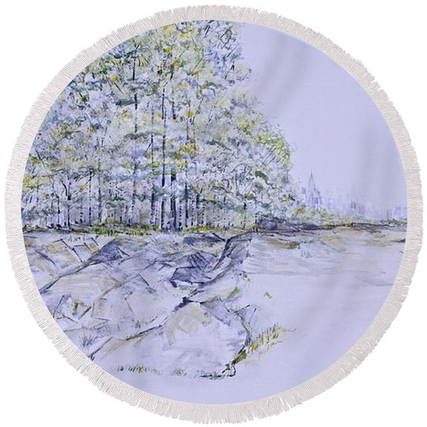 A Day In Central Park Round Beach Towel