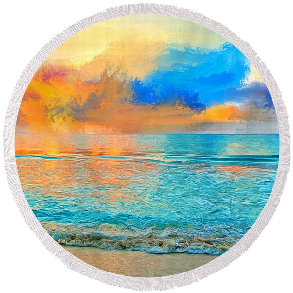 Bali Sunset Round Beach Towel
