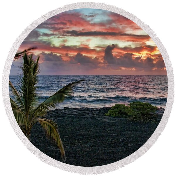 Big Island Sunrise Round Beach Towel