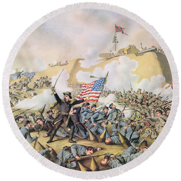 Capture Of Fort Fisher 15th January 1865 Round Beach Towel