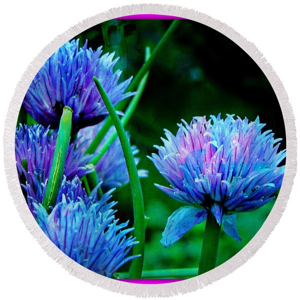 Chives For You Round Beach Towel