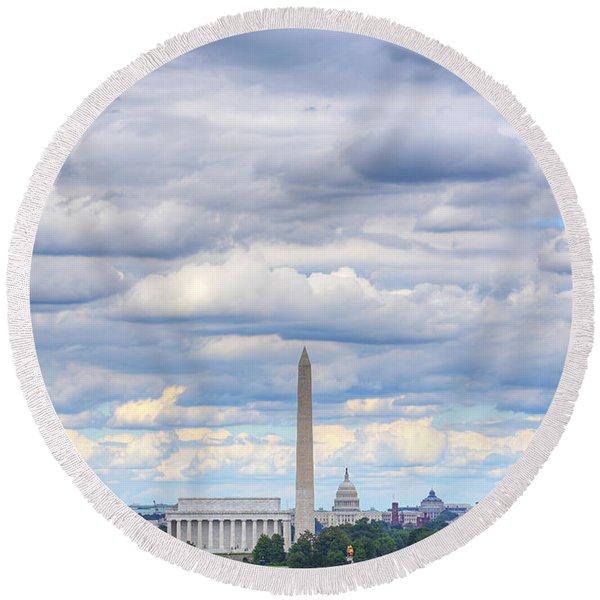 Clouds Over Washington Dc Round Beach Towel