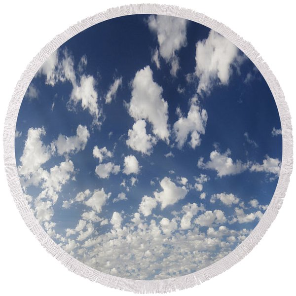 Cloudy Sky Round Beach Towel