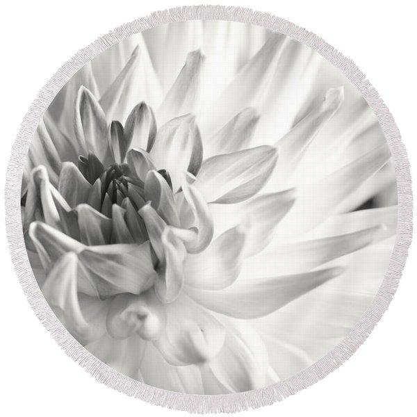 Dahlia Flower 02 Round Beach Towel