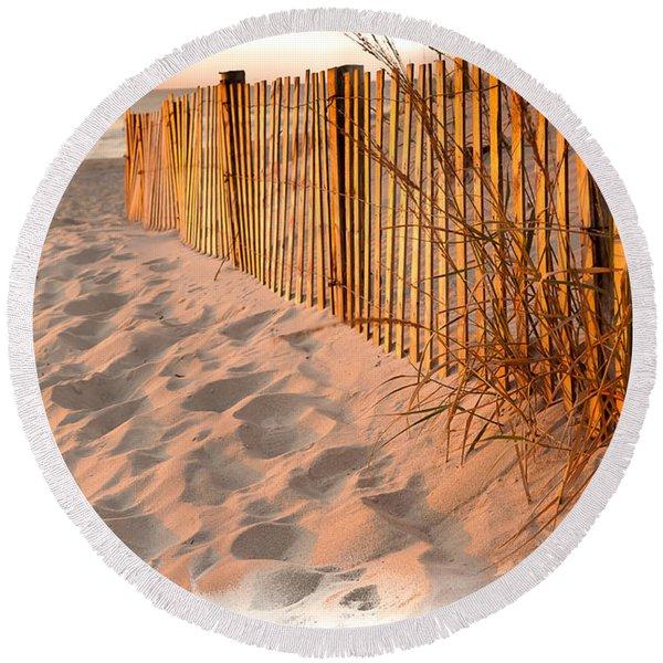 Dune Fence Round Beach Towel
