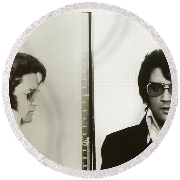 Round Beach Towel featuring the photograph Elvis Mugshot 1970 by Digital Reproductions