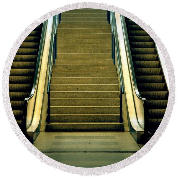 Escalators And Stairs Round Beach Towel