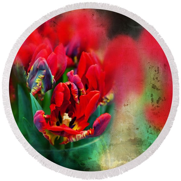 Round Beach Towel featuring the photograph Flowers by Ariadna De Raadt