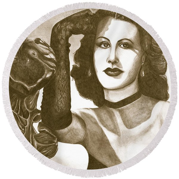 Heddy Lamar Round Beach Towel