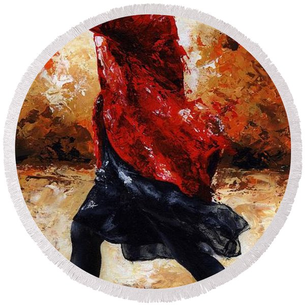 Lady In Red 28 Round Beach Towel
