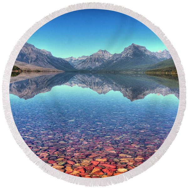 Lake Mcdonald Round Beach Towel