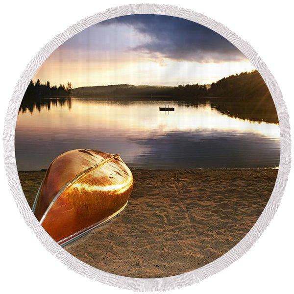 Lake Sunset With Canoe On Beach Round Beach Towel