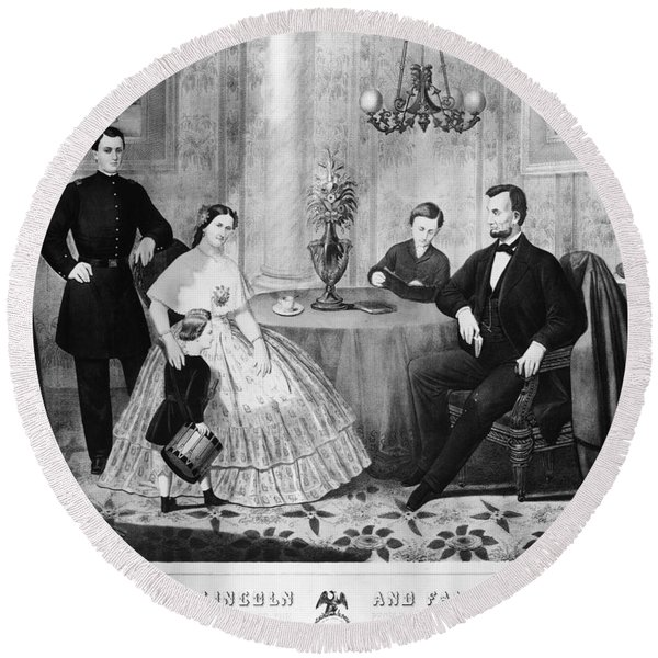 Lincoln & Family Round Beach Towel