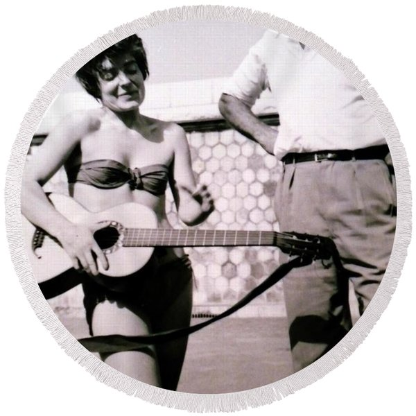 Round Beach Towel featuring the photograph Mama Chris And Gary Cooper In Monte Carlo 1958 by Colette V Hera  Guggenheim