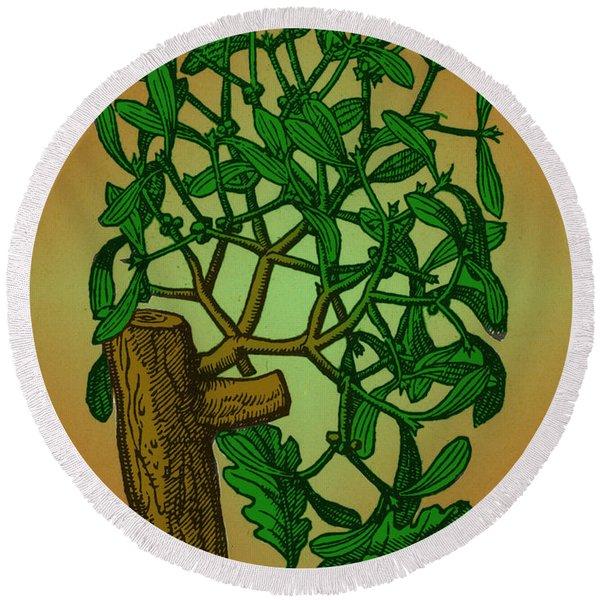 Mistletoe, Alchemy Plant Round Beach Towel