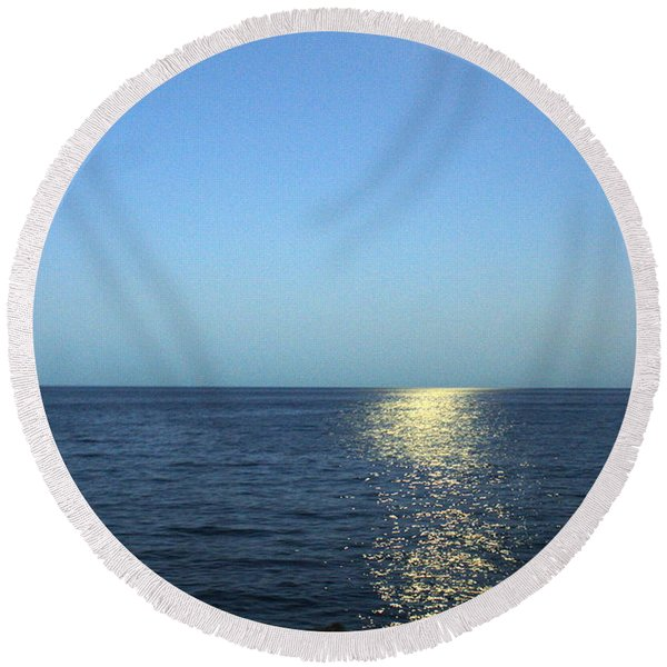 Moon And Water Round Beach Towel